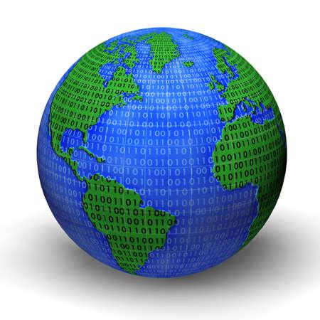 with bits: Digital world globe illustration. 3d model. Stock Photo