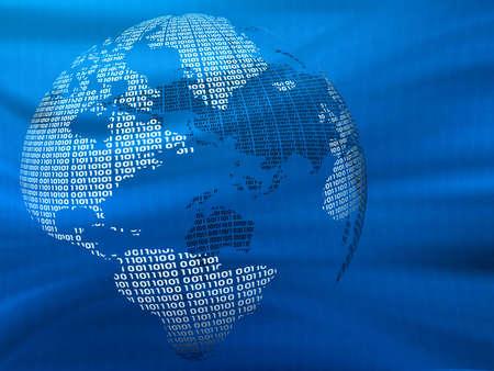 Digital world on a blue background. 3d model.