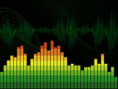 displays: Graphic equalizer on green  abstract  background. The schedule displays dynamic change of sound frequencies
