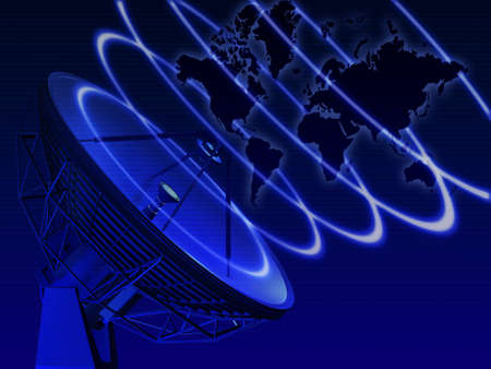 World map with telecommunication equipment