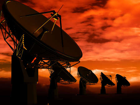 astrologer: The radio-aerials on a background of the sky