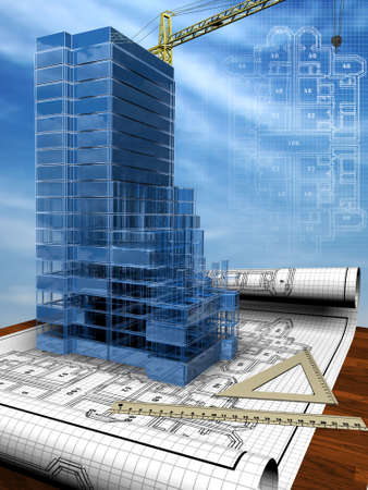 Conceptual image of the house blueprint Stock Photo - 692651