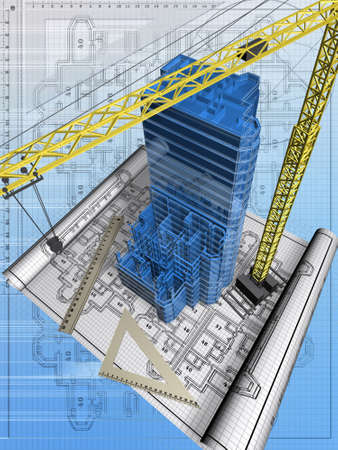 Conceptual image of the house blueprint Stock Photo