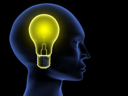 Head on black background. Conceptual image showing  thought process Stock Photo - 692653