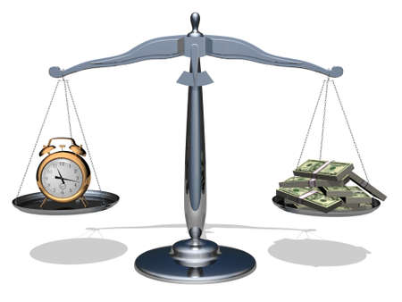 The relationship between time and money.Conceptual image. Stock Photo