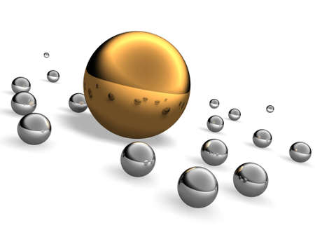 Big gold and small steel balls Stock Photo