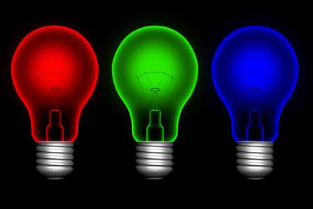 Rosso, blu e verde su sfondo nero lightbulbs  Archivio Fotografico