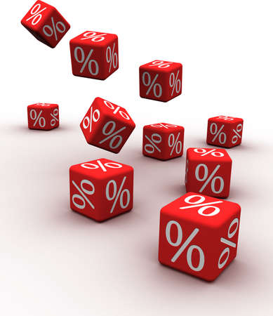 falling cubes: Symbols of percent on falling red cubes. Stock Photo