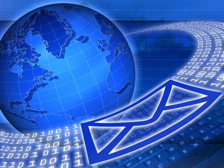 Email being sent around the globe with internet technology Stock Photo