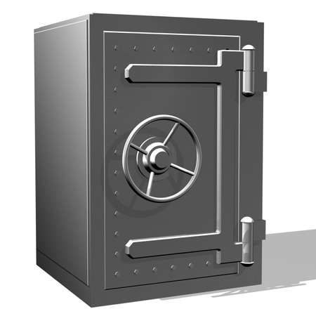 Rendered steel safe over white background
