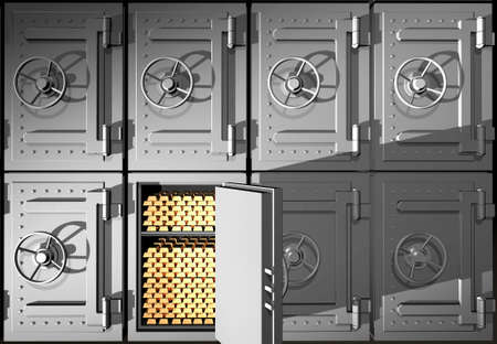 Steel safes with gold ingots Stock Photo