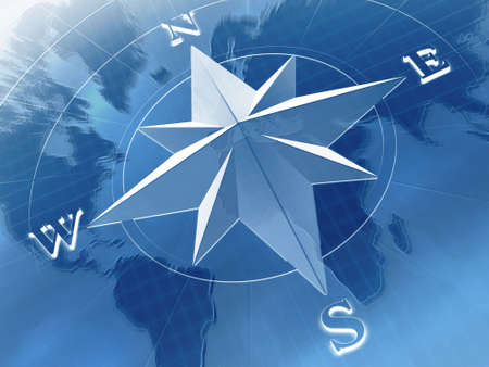 nautical star: Compass rose on  background of world map
