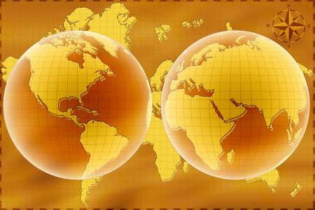 hemisphere: Old map of World. East and west hemisphere.