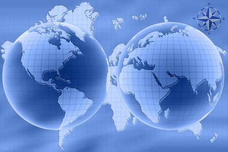 Oriente e Occidente emisfero di mappa del mondo.