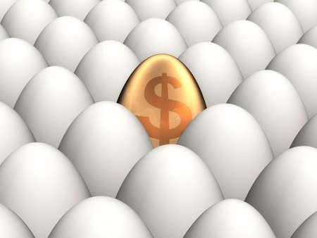 One golden egg among many normal eggs Stock Photo