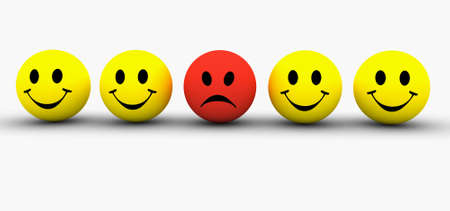 Colourful smilie icons representing different emotions and expressions photo