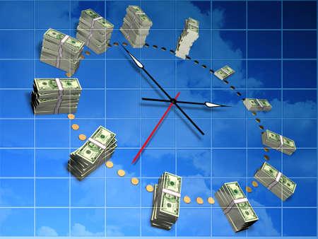 Il rapporto tra tempo e money.Conceptual immagine.
