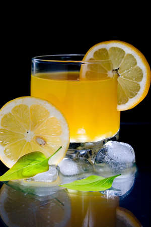 Cold cocktail with lemon