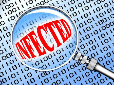 viruses: Computer infectados por el virus. 3d ilustraci�n.  Foto de archivo