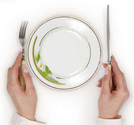 serving utensil: Empty plate Stock Photo