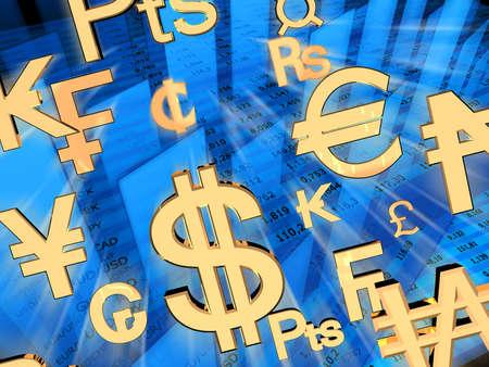 Exchange rates. 3d rendered illustration.