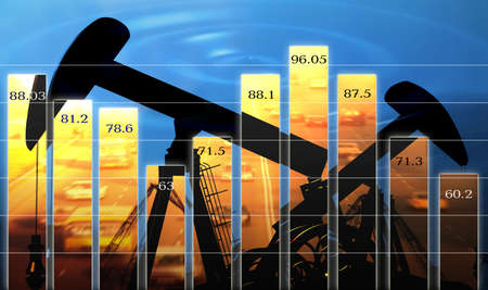 Business  diagram shows change of the prices for oil photo