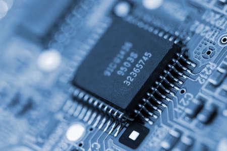 Primo piano di un microchip del calcolatore