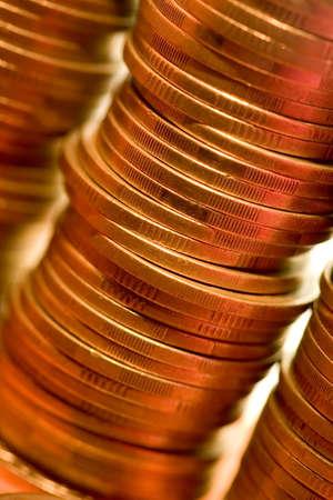 A macro photo of golden coins photo