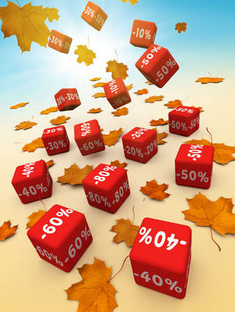 Symbols of percent on falling red cubes. Stock Photo - 1829514