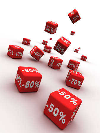price reduction: Symbols of percent on falling red cubes.