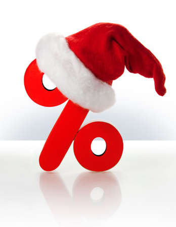 Symbol of percent and  a christmas hat