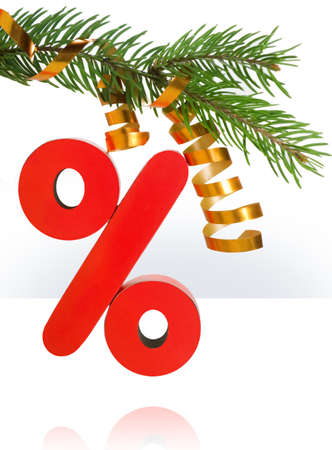 Symbol of percent on a christmas fur-tree photo