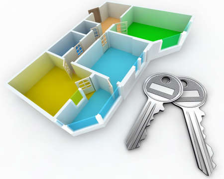 Schematic three-dimensional model of an apartment Stock Photo - 2412852