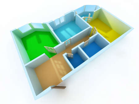 schematic: Schematic three-dimensional model of an apartment