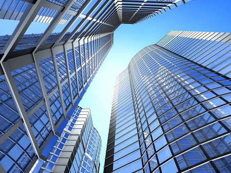 Ufficio edificio su uno sfondo di cielo blu