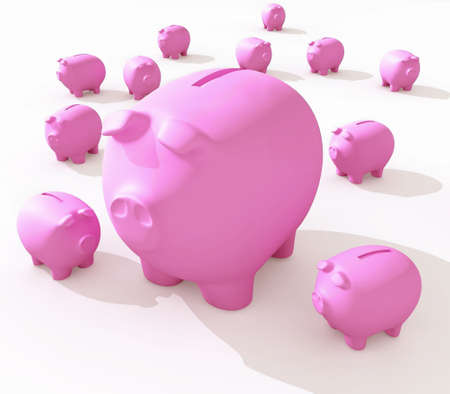 Funny piggy banks on a white background photo