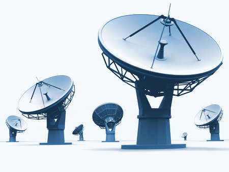 The radiotelescopes on white background  Stock Photo