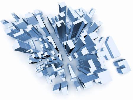 Abstract 3d model of  megacity Stock Photo - 2412849