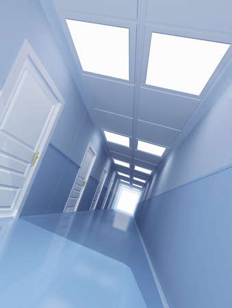 Long corridor with many doors  Stock Photo - 2521490