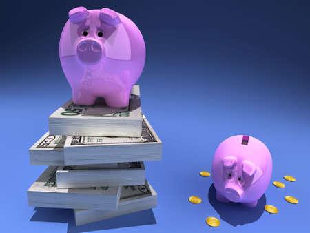 greenbacks: Funny piggy banks and money