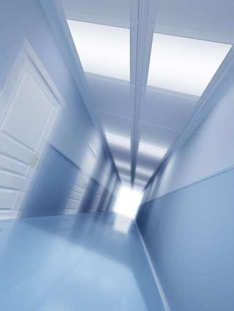 Lungo corridoio con effetto di motion blur