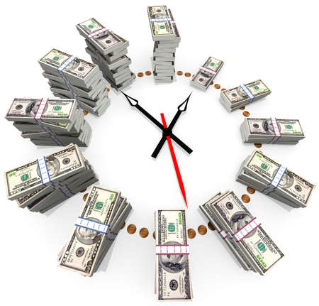 The relationship between time and money Stock Photo