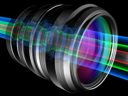 diopter: Light rays through camera lens Stock Photo