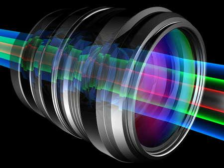 Light rays through camera lens Stock Photo