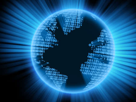 terra: Digital world on a black background. 3d model.
