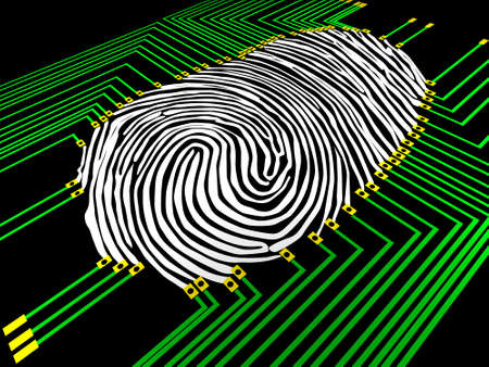 Scanning of a fingerprint with  new technologies Stock Photo - 2597177