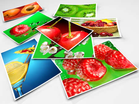 color photo: Stack of photos  on white background