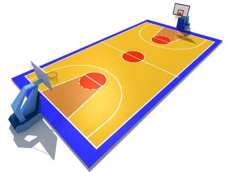3D resi illustrazione del campo di pallacanestro Archivio Fotografico