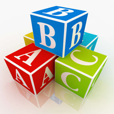 A,B and C written on colourful blocks Stock Photo