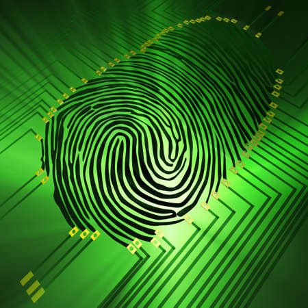 Scanning of a fingerprint with  new technologies Stock Photo - 2670429